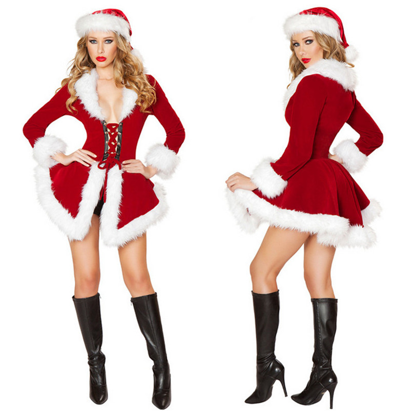 aliexpresscom buy christmas party red dress long sleeve white stuffed costumes fur velvet santa claus xmas outfit women sexy christmas fancy dress from
