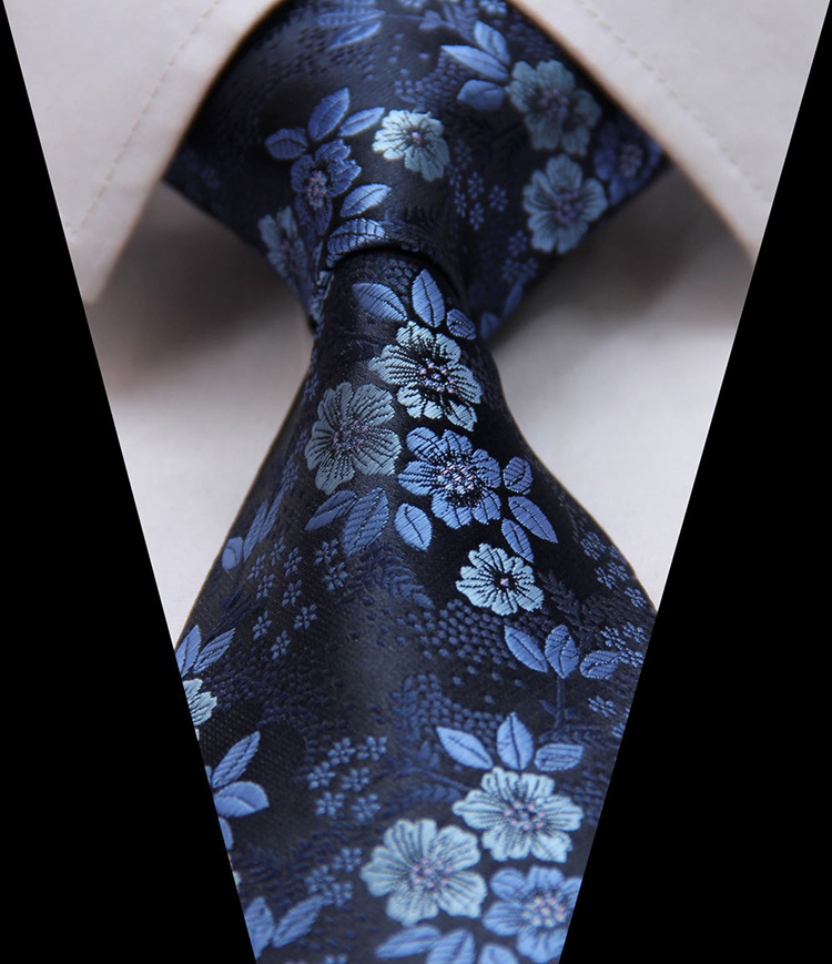 "TF2005B8 Blue  Floral  Paisley 3.4"" 100% Silk Jacquard Woven Classic  Man's Tie Necktie"