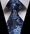"""TF2005B8 Paisley Floral Azul 3.4 """"Gravata do laço 100% Silk Tecido Jacquard Clássico do Homem"""