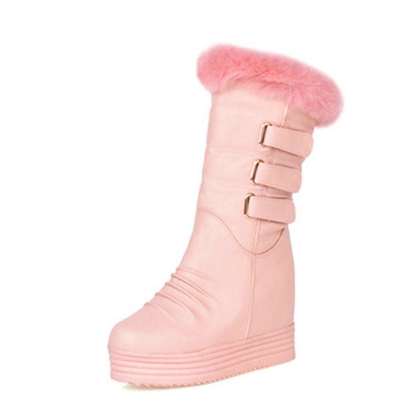 Mode Plus Winter Schwarzes Feiyitu Echtpelz Schwarz Frauen Marke Schnalle Schuhe Gute Damen Warme rosa weiß Qualität Stiefel Pelz Plattform Schnee TTxSwa7