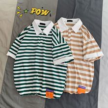 YASUGUOJI New 2019 Summer Fashion Striped Short Sleeve Polo Shirt Men Casual Loose Cotton Mens Shirts Polos Para Hombre