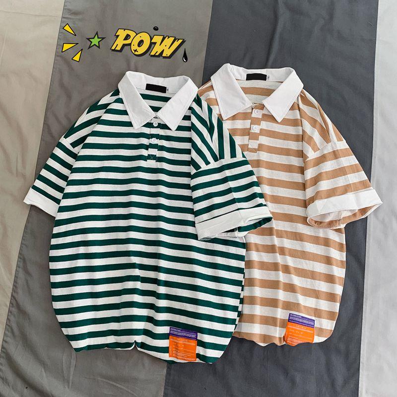 YASUGUOJI New 2019 Summer Fashion Striped Short Sleeve   Polo   Shirt Men Casual Loose Cotton Mens   Polo   Shirts   Polos   Para Hombre