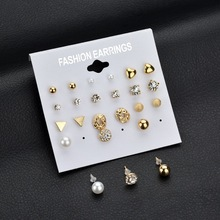 Terreau Kathy Brincos 2017 Fashion 12 pair/set Trendy Style Women Square Crystal Heart Stud Earrings for Women