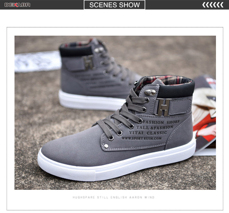 DEKABR Hot Men Shoes Fashion Warm Fur Winter Men Boots Autumn Leather Footwear For Man New High Top Canvas Casual Shoes Men
