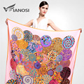[VIANOSI]  Brand 130x130cm Silk Square Scarf Women Fashion Bandana High Quality Satin Scarves Soft Shawl Hijab VA042