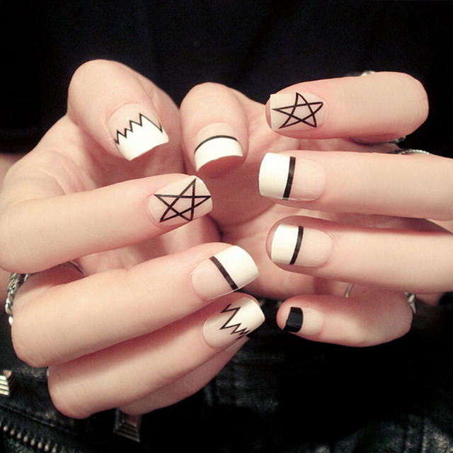 Simple 24pcsset French Black Lines Five Pointed Star Design
