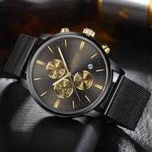 LIANDU мужская Мода Хронограф Световой Черный Кварцевые Часы Имитация Сетка Из Нержавеющей Стали С Часами