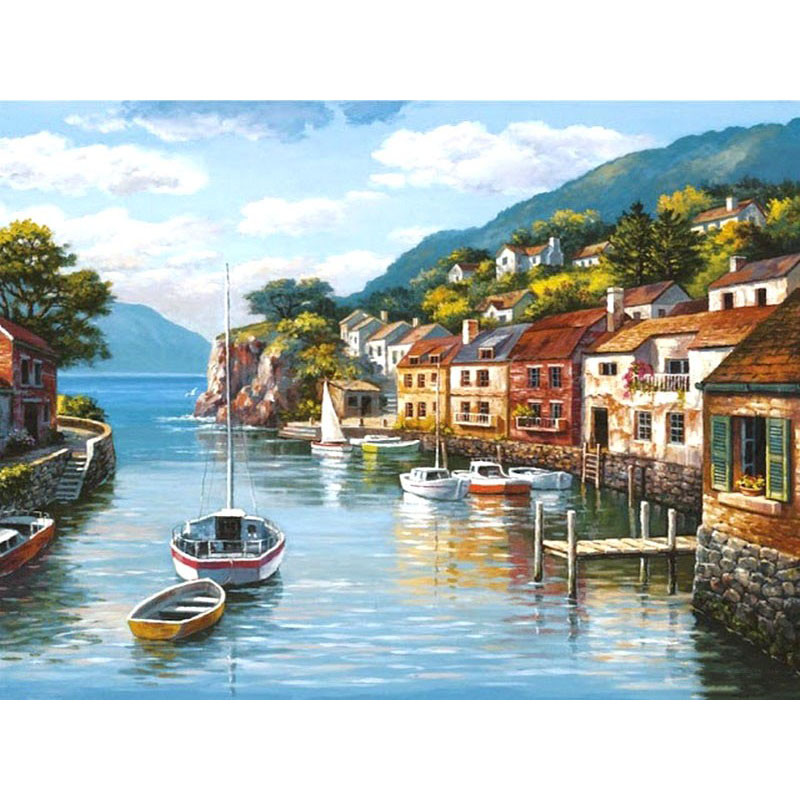 ArtSailing diy pictures by numbers on canvas Boat on the River Scenery coloring paintings by numbers with acrylic paints NP-257