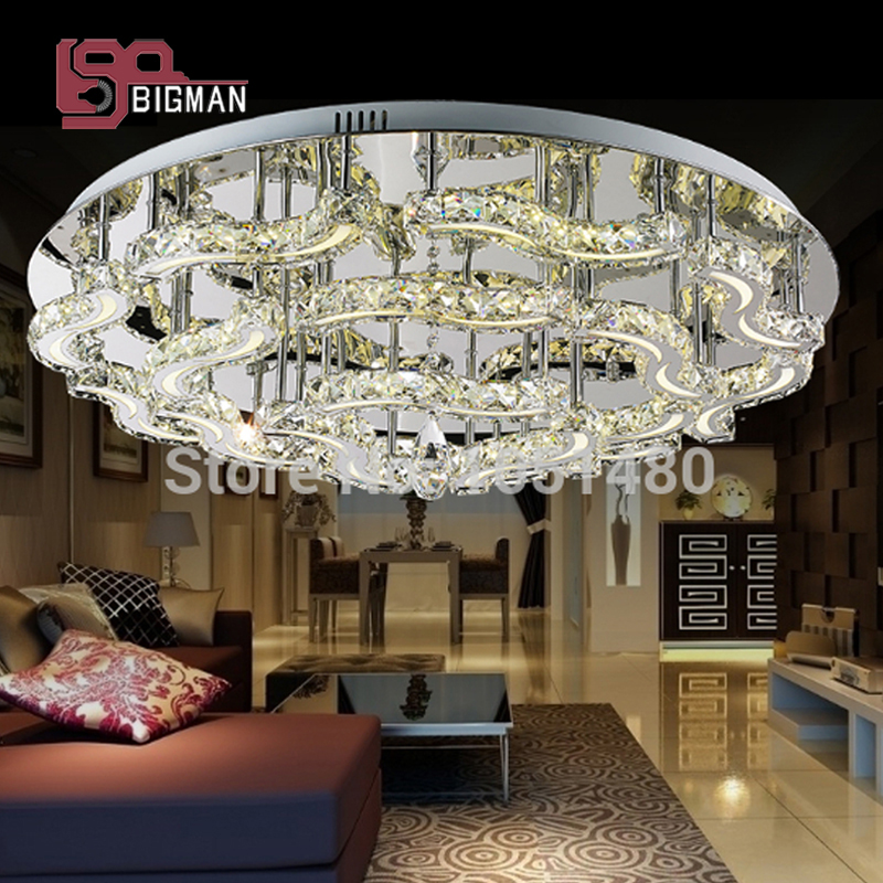 Free Shipping New K9 Crystal Modern LED Chandelier Living Room Luxury Light Fixtures Dia800 H200mm