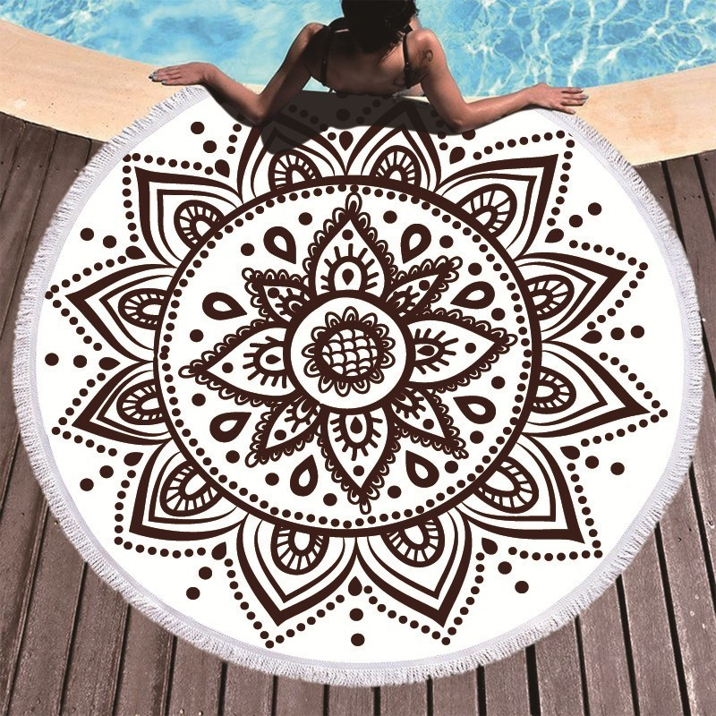 Image 3 - Boho Mandala Microfiber Round Beach Towels Summer Roundie Beach Towel Large 150cm Outdoor Sports Travel Yoga Tapestry Bath Towel-in Bath Towels from Home & Garden