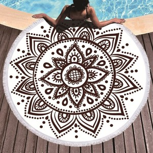 Image 3 - Boho Mandala Microfiber Round Beach Towels Summer Roundie Beach Towel Large 150cm Outdoor Sports Travel Yoga Tapestry Bath Towel