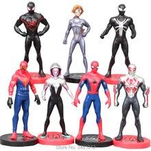 7pcs/set Spiderman Venom Spider Woman Gwen Stacy PVC Action Figures Spider-man 2099 Anime Figurines Dolls Kids Toys For Children