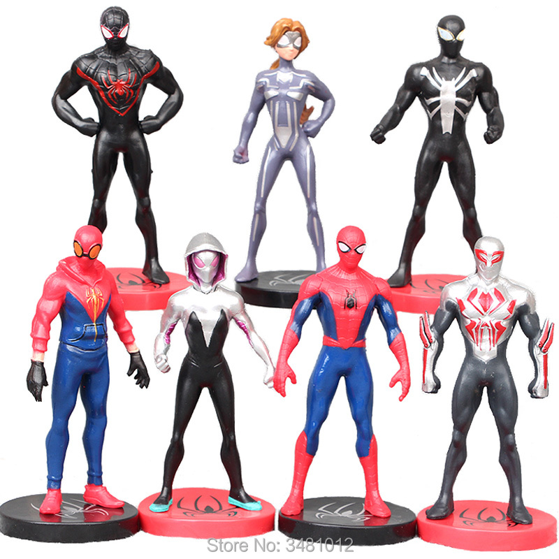 7pcs/set Spiderman Venom Spider Woman Gwen Stacy PVC Action Figures Spider-man 2099 Anime Figurines Dolls Kids Toys For Children