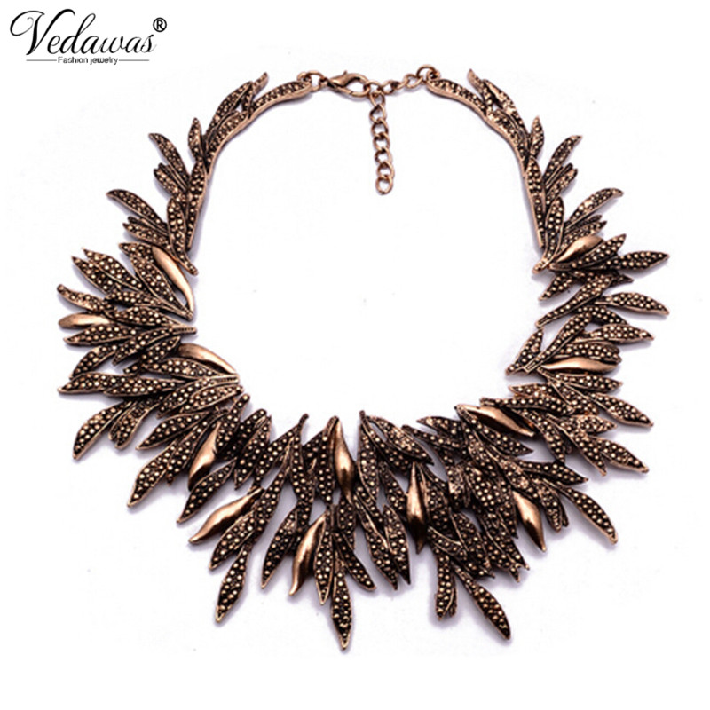 2017 New Design Summer Style Fine Jewelry Vintage Statement Necklace Chunky Leaf Alloy Choker Necklace Collier Femme XG742 lace up filigree alloy choker necklace