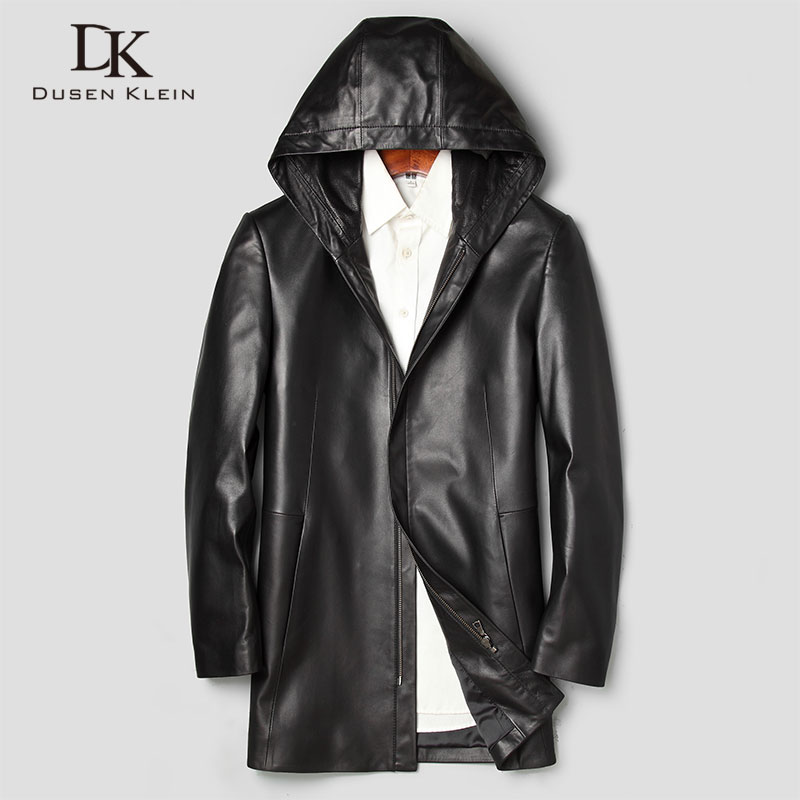 Men Genuine Leather Jacket Real Sheepskin Leather Jackets 2019 Spring New Casual Hoodied Jacket Mid-Long Brand 71J7866