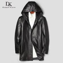 Men Genuine Leather Jacket Real Sheepskin Jackets 2019 Spring New Casual Hoodied Mid-Long Brand 71J7866
