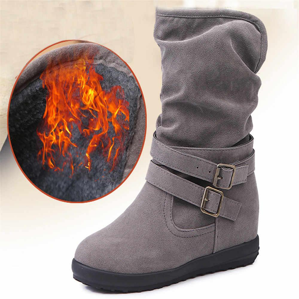 CAGACE 2018 kadın sonbahar kış bayan botları düşük kama toka Biker Trim düz orta buzağı çizmeler ayakkabı kızlar yarım çizmeler