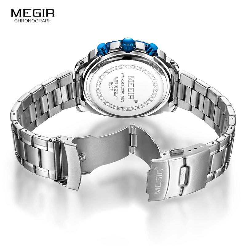 MEGIR 2018 New Quartz Luminous Man horloge Fashion Sport Stainless - Herenhorloges - Foto 6