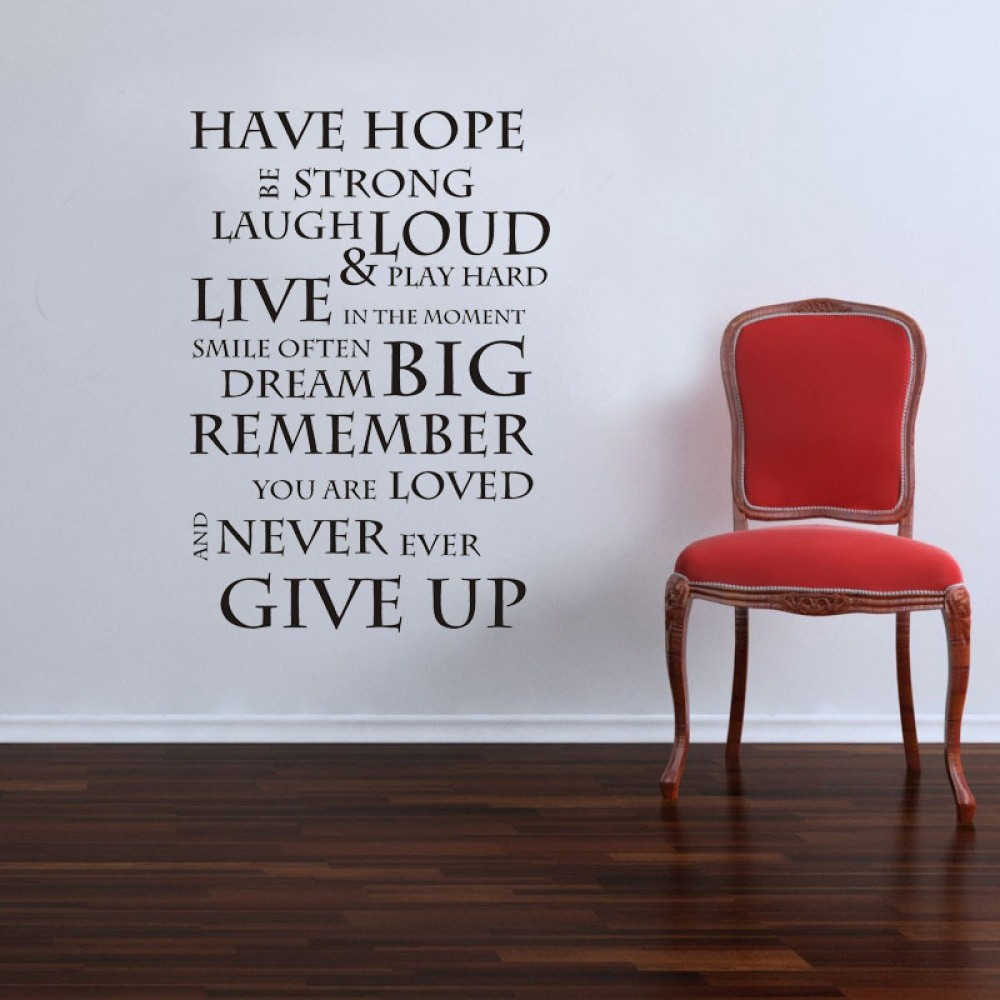 Renkli oturma gruplari 5 quotes - Inspirational Quote Wall Stickers Family Lettering Wall Decals Motivational Wall Quotes Never Give Up Quote Stickers