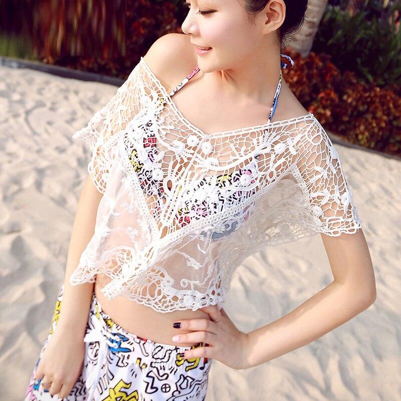New Summer Sexy Women Thread Crochet Short paragraph Bikini 2018 Swimwear Cover Ups Beach Dress Bathing Suit saida de praia