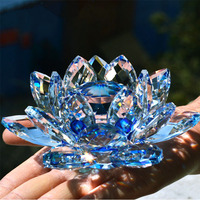 80mmBlue Crystal Lotus Flower Glass Crafts Natural Stones Minerals Home Wedding Decoration Christmas Gifts Quartz Glass