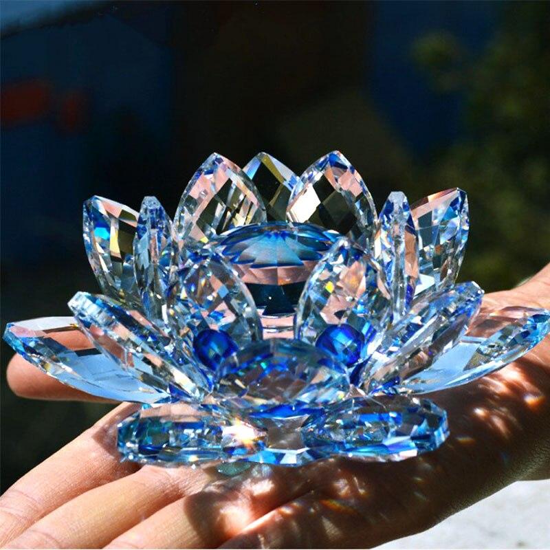 80mm cristal de cuarzo flor de loto artesanías pisapapeles de cristal Fengshui ornamentos estatuillas hogar boda fiesta decoración regalos recuerdo