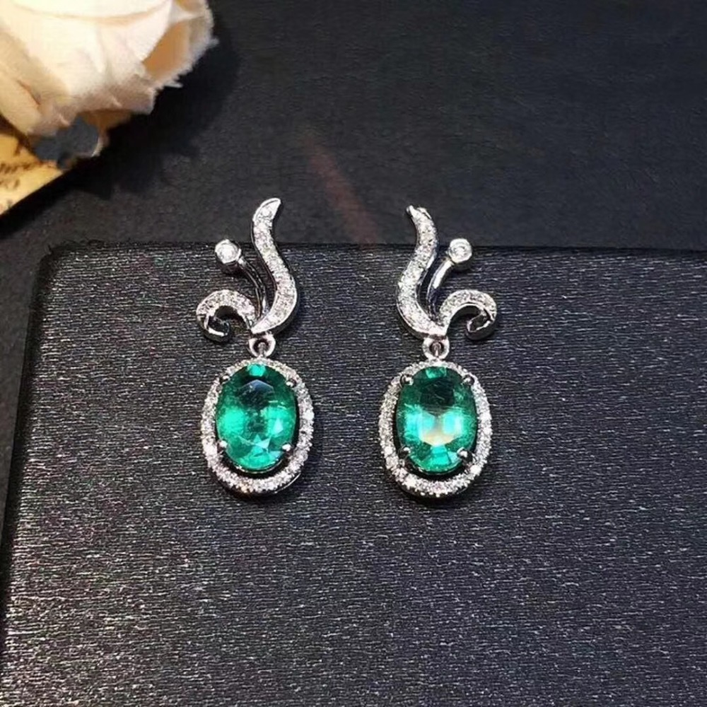 Earring Natural emerald earring Free shipping Real original emerald 925 sterling silver 4*6mm 2pcs GemEarring Natural emerald earring Free shipping Real original emerald 925 sterling silver 4*6mm 2pcs Gem