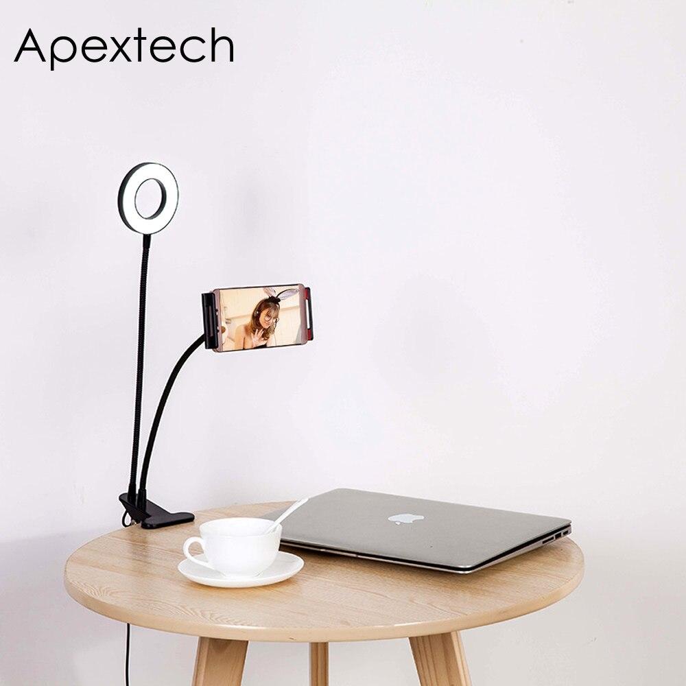 Apextech Web Célébrité Lumière En Direct Supplément Lampe Usb 5 W 3 Couleurs Dimmable Avec Pince De Téléphone Bureau Selfie Lumières De Maquillage Flexible