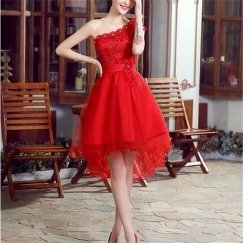 New Bridesmaid Dresses Elegant One Shoulder Bride Gown Short Front Long Back Ball Prom Party Homecoming/Graduation Formal Dress