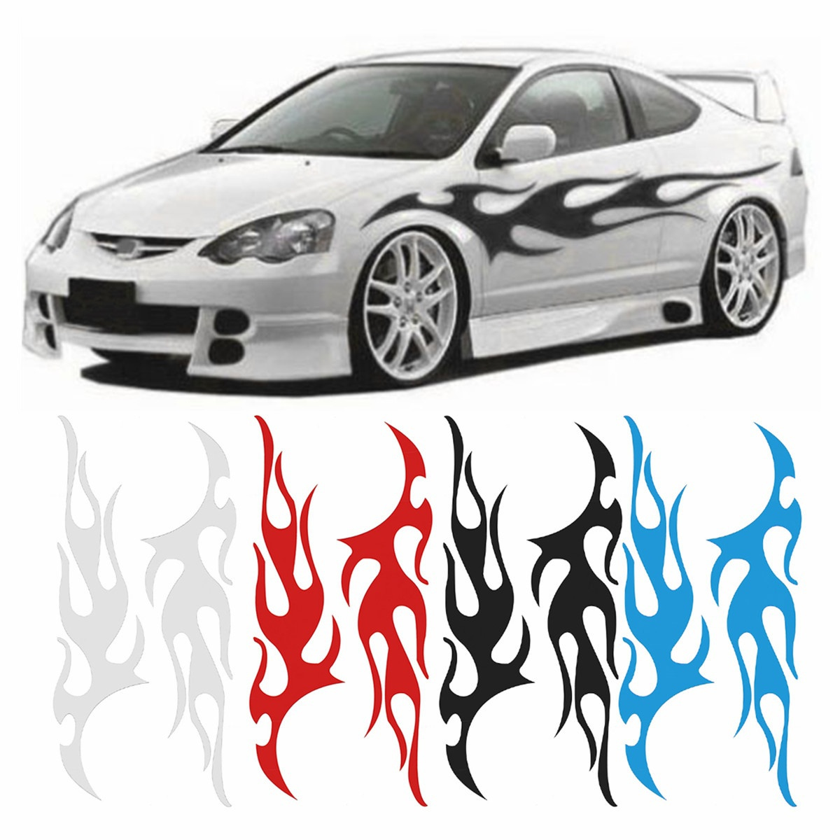 DEDC 1 Pair Large Flame Graphic Decal Flaming for Car Truck Auto Body Hood Panel Window Rear Windshield Car Stickers spider web hood rear window auto car vinyl decal stickers
