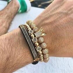 Mcllroy 3pcs/set Luxury Charm Gold/Silver Crown Bracelets For Women Men Cubic Micro Pave CZ Braiding Bracelet Bangle Man Jewelry