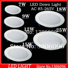 10pcs/lot AC85-265 7W/9W/12W/15W/18W/24W led downlight recessed lighting for bedroom sets decoration LED panel lamp