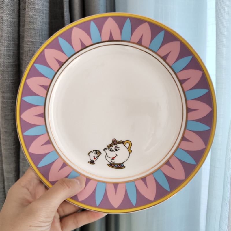 Beauty And The Beast Tea Set Ceramic Plate Saucer Dishes Mrs Potts Chip Teapot Cup Lovely Porcelain Coffee Creative Xmas Gift