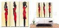 จัดส่งฟรีHandmadeบทคัดย่อแอฟริกาผู้หญิงศิลปะภาพวาดบนผ้าใบตกแต่งบ้านมือสีวิจิตรศิลปะผนังอะคร...