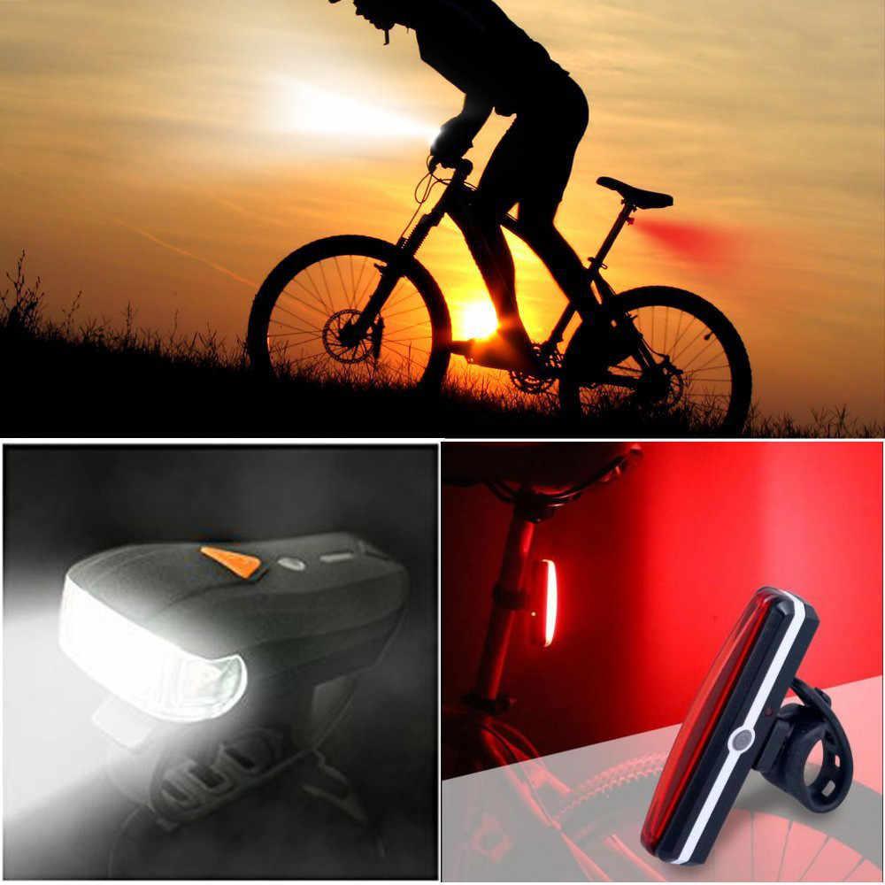 USB Перезаряжаемый светодиодный велосипедный фонарь передняя фара Задний фонарь комплект заднего света водостойкий ПК ABS # JX