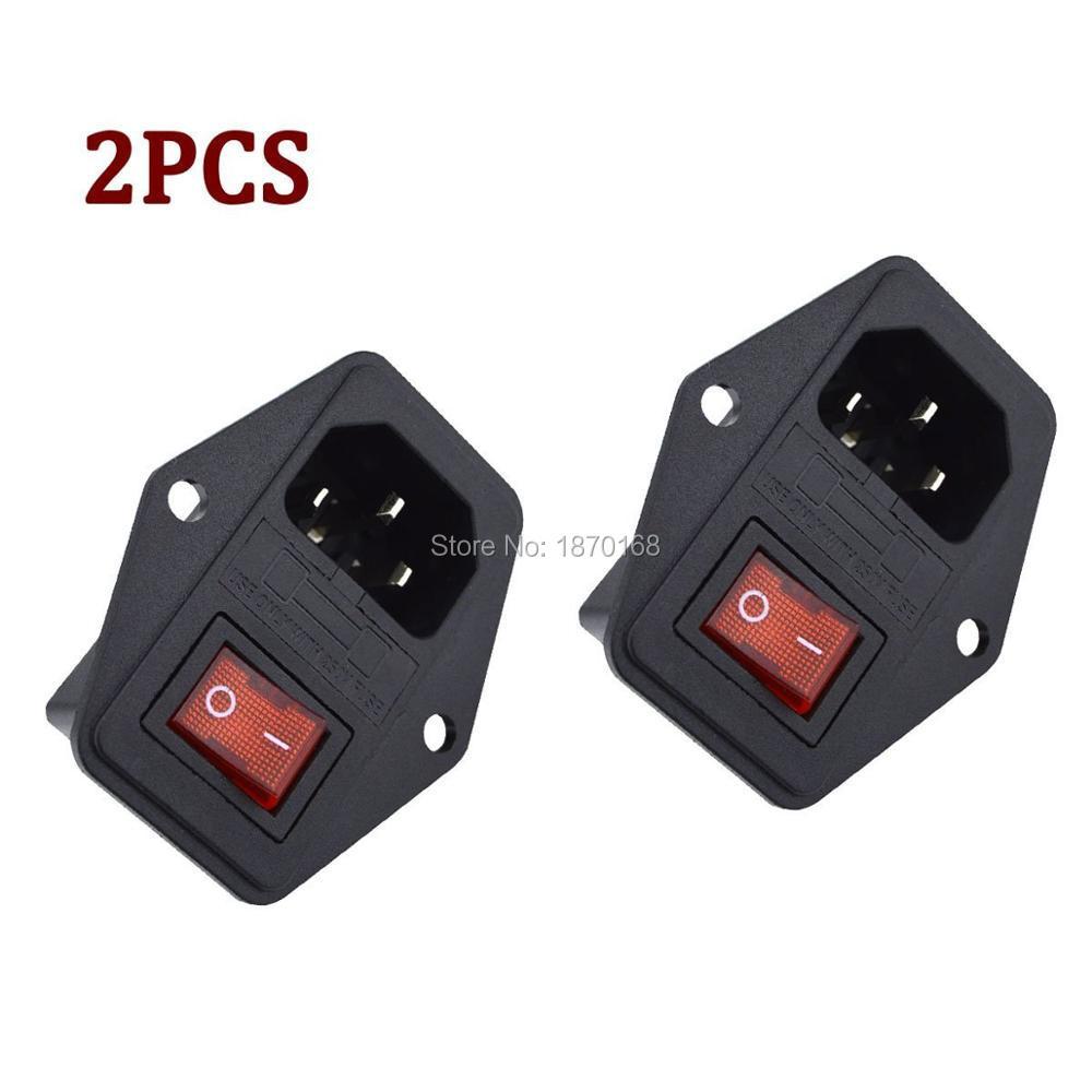 2pcs  Lots Inlet Module Plug 5a Fuse Switch Male Power