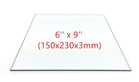 3pcs 6 x 9 150mm x 230mm Borosilicate Glass Plate Bed Flat for Flashforge Creator Makerbot