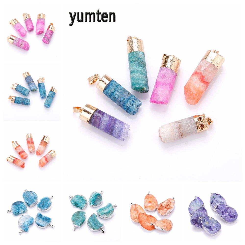 Yumten Crystal Pillar Pendant Water Drop Sweater Chain Necklaces The Geode Natural Clusters Buds Stone Fashion Jewelry