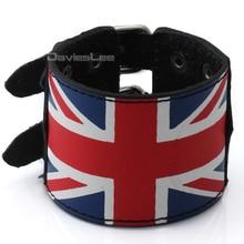 Wholesale 51MM Adjustable Mens Man Made Leather Bracelet Wristband Punk Scottish UK USA Tartan Plaid Studs