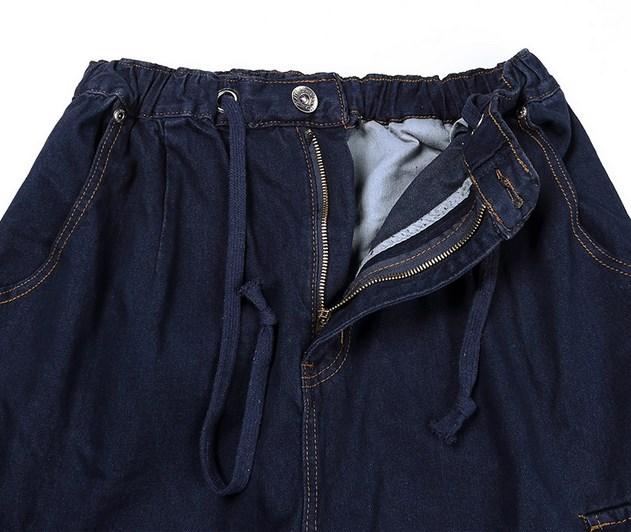 08a192a9b € 70.67  Hommes taille elastique Entrejambe Jeans Homme Grande poche de  côté Jeans Pour Hommes Lâche Droite Denim Jeans baggy pantalons grande ...