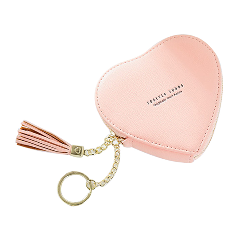 10PCS/Lot Wholesale Women Heart Type Zipper PU Lovely Coin Purse Casual Girl Kawaii Travel Wallets