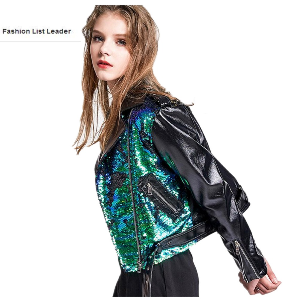 50d7d68e17af Spring autumn Fashion brand Good Quality wholesale sequins leather jacket  Ladies Street style zipper PU Leather Jacket wj1079