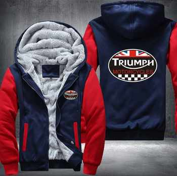 New Fashion Winter GREAT BRITAIN TRIUMPH MOTORCYCLE Thicken Fleece Zip up Hoodies men Casual Tops USA EU size Plus size