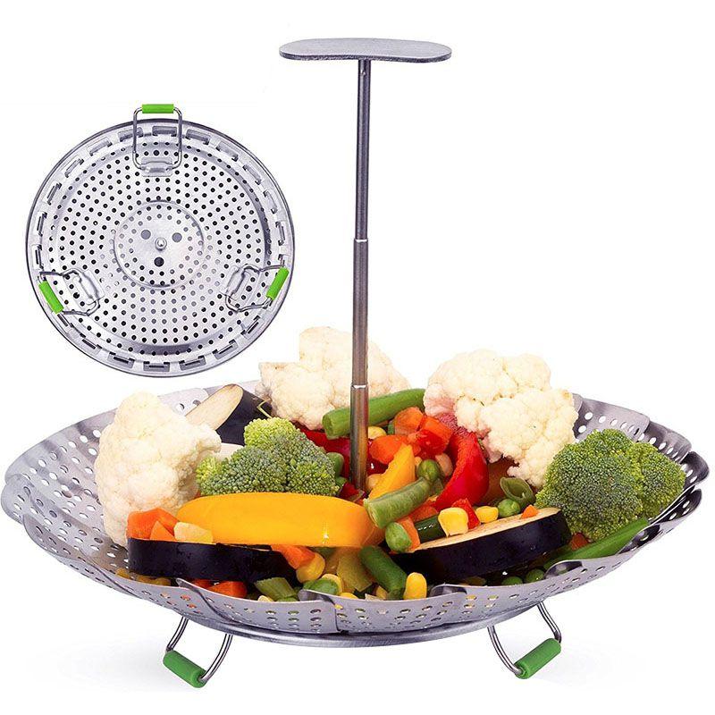 Stainless Steel Vegetable Steamer Basket Fits Instant Pot Pressure Cooker Extendable Handle Design Premium Steamers
