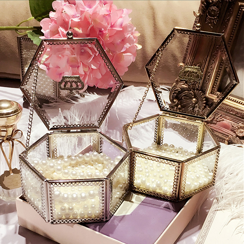 Decorative Dressing Table ~ Golden crown glass storage box organizer makeup cosmetic