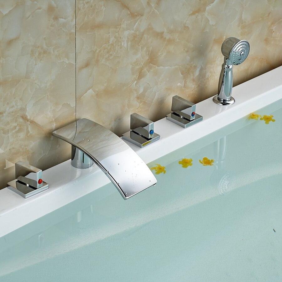 Solid Brass Waterfall Bathroom Tub Faucet Hand Sprayer Vanity Sink Mixer Tap декор lord vanity quinta mirabilia grigio 20x56