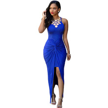 SEBOWEL 2016 Summer Style Sexy Bodycon Long Club Dress Sleeveless Tie Front Split Party Dresses Beachwear Cheap Maxi Dress