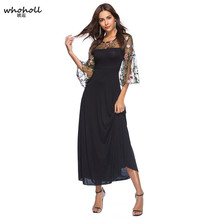 WHOHOLL Black Applique Embroidered Mesh Sleeve Pencil Dress Women Autumn Elegant Casual Boat Neck Bishop Sleeve Pencil Dresses bishop sleeve ribbed sweatshirt