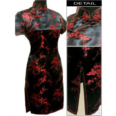 Hitam merah Cina wanita Satin Cheongsam Qipao Mini Evening Dress Ukuran: Sml XL XXL XXXL 4XL 5XL 6XL