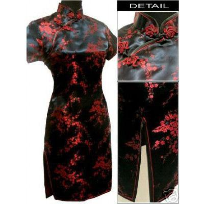 Black Red Chinese Women's Satin Cheongsam Qipao Mini Evening Dress Size:S M L XL XXL XXXL 4XL 5XL 6XL
